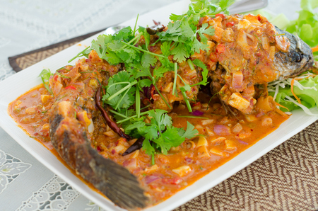 Deep Fried Snakehead Fish with Herb and Spicy Sauce