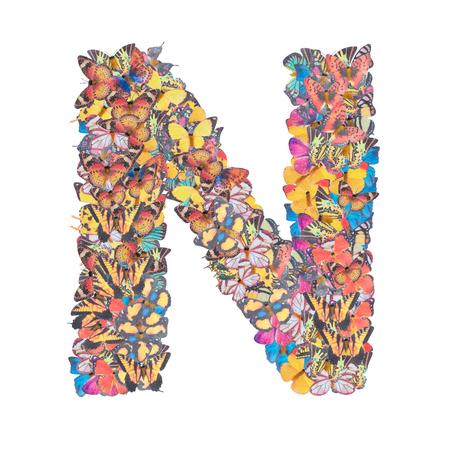 Buchstabe N Alphabet mit Schmetterling ABC Konzept Typ als Logo isoliert auf weißem Hintergrund