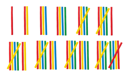 Wooden mathematical stick toy isolated on white background Stock Photo
