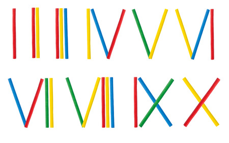 Roman numerals set made from mathematical wooden stick isolated on white background Stock Photo