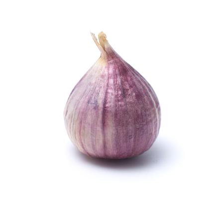 Garlic or Allium ampeloprasum var. ampeloprasum isolated on white background Stock Photo