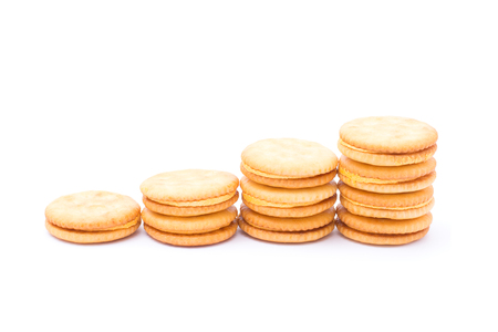 Sandwich  cheese cream cracker  isolated on white background. Stock Photo