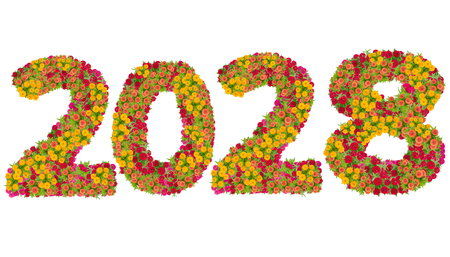 Numbers 2028 made from Zinnias flowers isolated on white background with clipping path. Happy new year concept Stock Photo