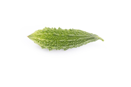 Balsam apple, Bitter cucumber, Bitter gourd, Balsam pear (momordica charantia) isolated on white background. 免版税图像