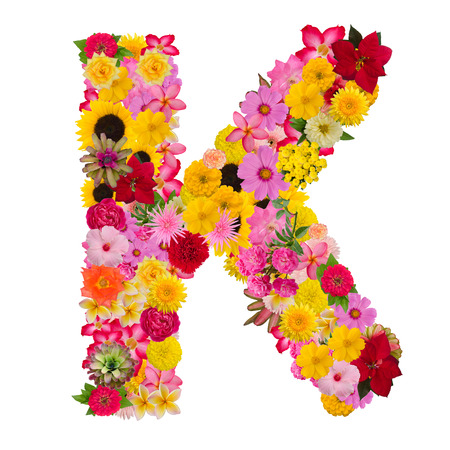 Letter K alphabet with flower ABC concept type as logo isolated on white background. With clipping path
