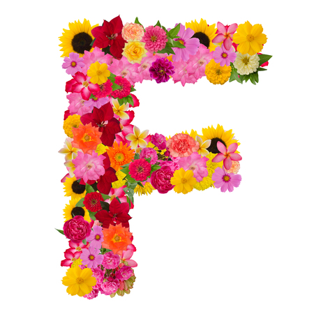 Letter F alphabet with flower ABC concept type as logo isolated on white background. With clipping path