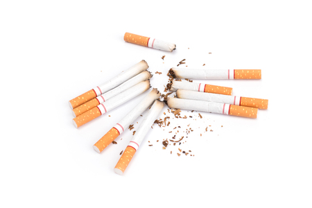 Cigarettes with ash isolated on a white background