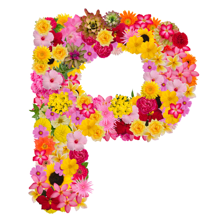 Letter P alphabet with flower ABC concept type as logo isolated on white background. With clipping path