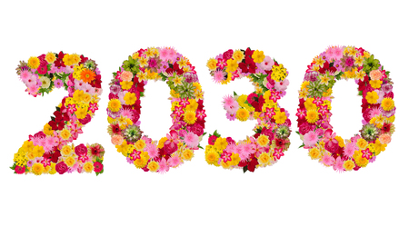 Inscription 2030 from fresh flowers isolated on white background. Happy New Year Concept.With clipping path