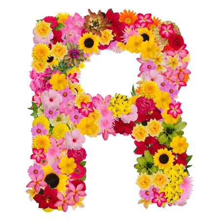 Letter R alphabet with flower ABC concept type as logo isolated on white background. With clipping path