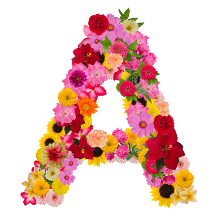 Letter a alphabet with flower ABC concept type as logo isolated on white background. With clipping path