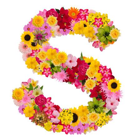 Letter S alfabet met bloem Abc concept type als logo geïsoleerd op een witte achtergrond. Met uitknippad Stockfoto