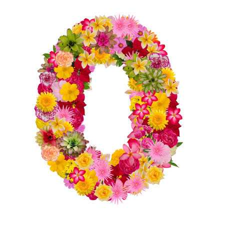 Number made from flower isolated on white background. Whit clipping path
