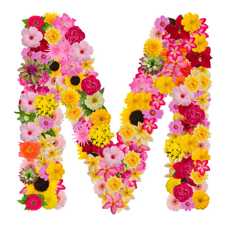 Letter M alphabet with flower ABC concept type as logo isolated on white background. With clipping path