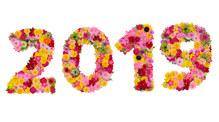 Inscription 2019 from fresh flowers isolated on white background. Happy New Year Concept.With clipping path