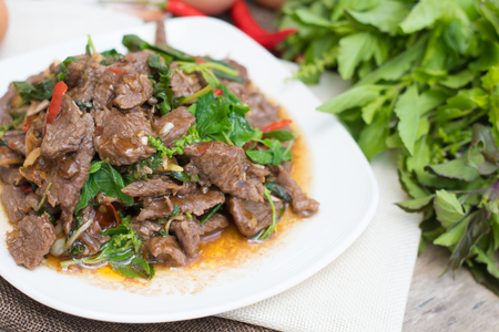 Thai spicy food basil beef fried (Krapao Neao)