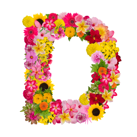 Letter D alphabet with flower ABC concept type as logo isolated on white background. With clipping path