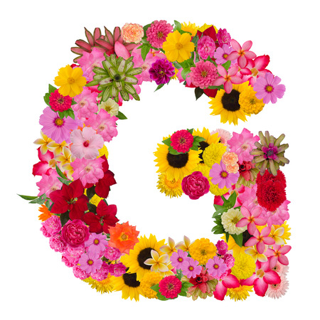 Letter G alphabet with flower ABC concept type as logo isolated on white background