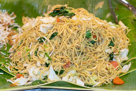 Fried egg noodles. Street food in Thailand 版權商用圖片