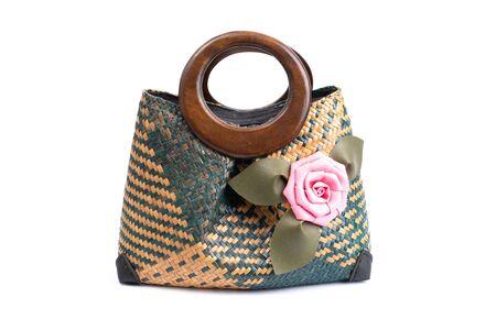 Woven Handmade Bag for Women,Thai handicraft woman basketry isolate on white background