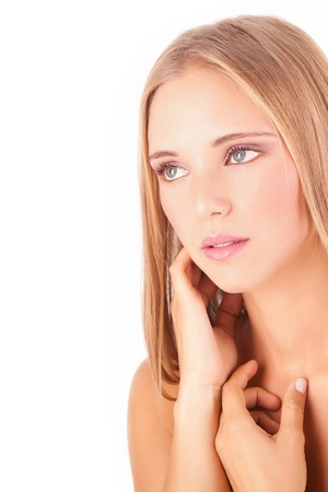 Portrait of a beautiful healthy young blonde woman - Beauty Care