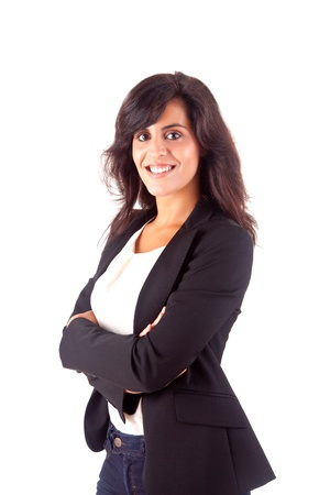 Beautiful business woman posing over white background Stock Photo - 16972088