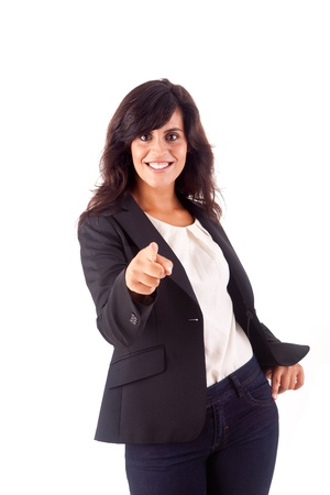 Smiling woman pointing up over white background Stock Photo - 16972114