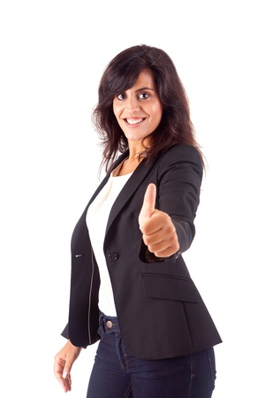 Smiling woman giving thumbs up over white background Stock Photo - 16972089