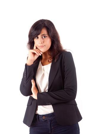 Beautiful business woman thinking over white background Stock Photo - 16972064