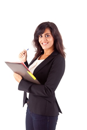 Beautiful woman scheduling an appointment over white background Stock Photo - 16972077