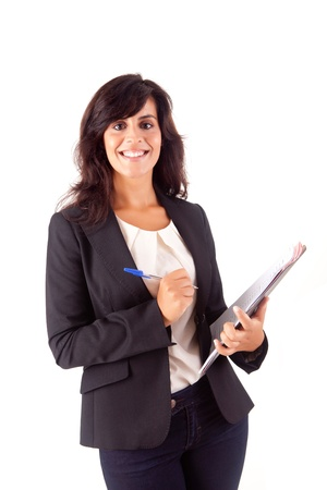 Beautiful woman scheduling an appointment over white background Stock Photo - 16972095