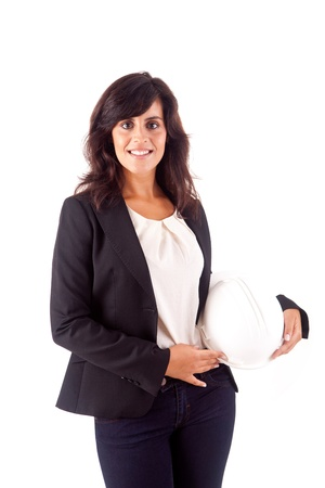 Business woman holding an white helmet over white background photo
