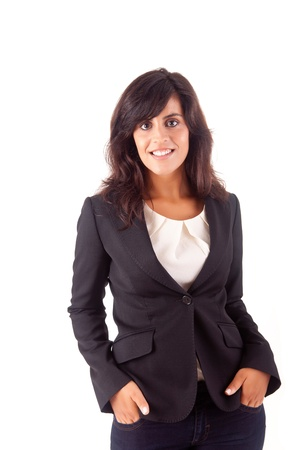 Beautiful business woman posing over white background Stock Photo - 16972058