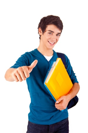 Young happy student showing thumbs up over white background Stock Photo