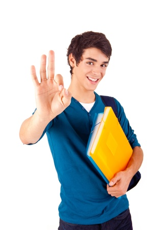 ok sign: Young happy student showing Ok sign on white background Stock Photo