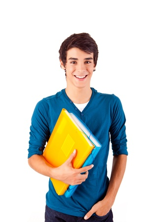 backgound: Young happy student carrying books on white backgound