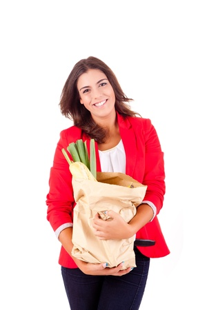Young female holding a shopping bag on white background Stock Photo - 17159884
