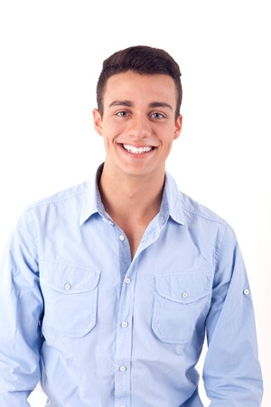 casual caucasian: Portrait of handsome young man in casual clothes standing over white background