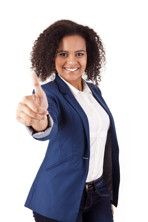 Portrait of young business woman giving  thumbs up on white background Stock Photo - 17160020