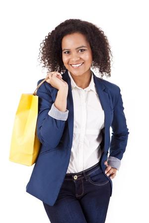 Beautiful african woman holding shopping bags Stock Photo - 17242546