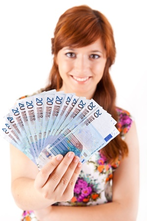 Happy woman showing Euros currency notes on white background Stock Photo - 17160198