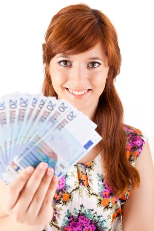 Happy woman showing Euros currency notes on white background Stock Photo - 17160211