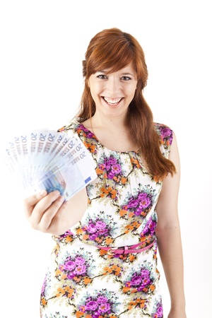 Happy woman showing Euros currency notes on white background Stock Photo - 17243169