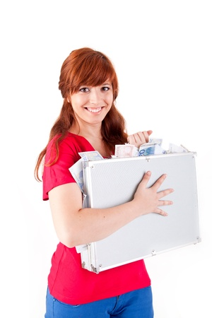 Woman holding metal grey case with money on white background Stock Photo - 17160116