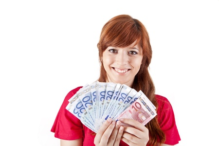Happy woman showing Euros currency notes on white background photo