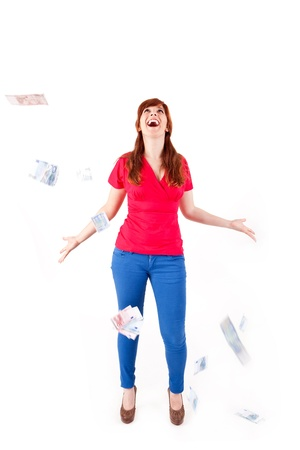 Happy woman showing Euros currency notes on white background Stock Photo - 17159964