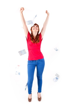 Happy woman showing Euros currency notes on white background Stock Photo - 17159962