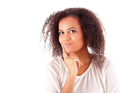 afro hair: Beautiful african woman thinking