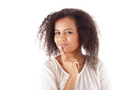 Beautiful african woman thinking Stock Photo - 17160170