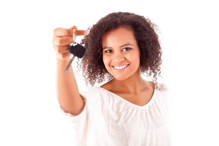 license: Beautiful african woman holding a car key Stock Photo